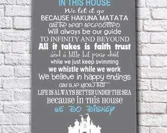 We Do Disney Sign, Disney Family Rules Sign, In This House We Do Disney Wood Plaque, Disney Wall Art, Disney Quote, Disney Theme Home Decor