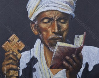 African Priest  PORTRAIT Ethiopian Monk - Realistic artwork Chalk Pastel DRAWING colour bible cross african Wall art room decor