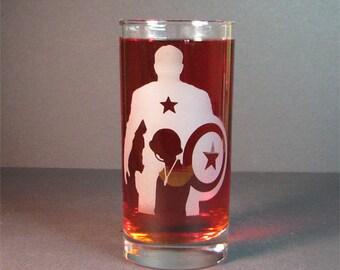Captain America 16oz drink glass