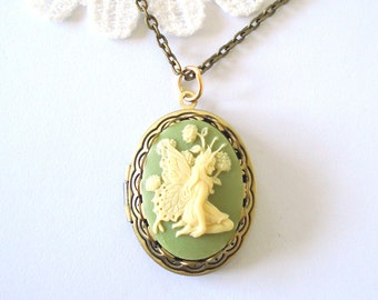 Butterfly Fairy Locket, Light Green Necklace, Ivory Cameo Locket, Whimsical Jewelry
