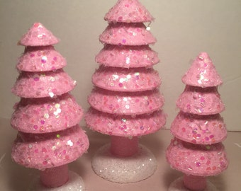 Pink glitter trees. Set of 3.