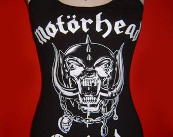 MOTORHEAD diy halter top  tank top hard rock metal girly altered reconstructed shirt  xs s m l xl