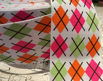 "3 yards 1.5"" Spring Argyle Grosgrain ribbon"