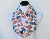 Feathers scarf feather print infinity scarf soft tribal scarf bohemian pastel cream pink blue teal white scarf loop scarf, circle scarf