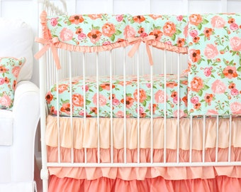 Hadlee's Mint and Coral Floral Bumperless Crib Bedding | 2 or 3 pc bedding set in coral and aqua | Floral, Flower Baby Girl Bedding