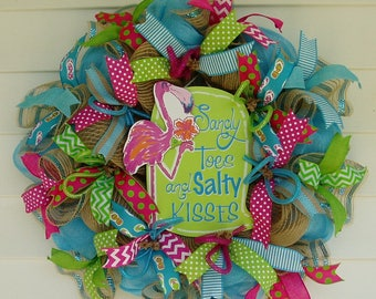 Flamingo Wreath, Beach Wreath, Summer Wreath, Tropical Wreath, Pink Flamingo Wreath