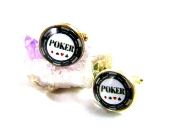 Silver-plated Poker Cufflinks