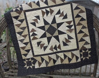 "Small Quilt with an Ohio Star and Migrating Geese - All Black, Brown and Cream           43"" x 43"""