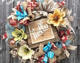 Hello Wreath, Hello Deco Mesh Wreath, Burlap Deco Mesh Wreath, Housewarming Wreath, Summer Wreath, Mother's Day Wreath, Front Door Wreath