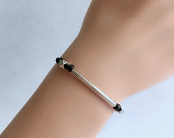 Silver bar bracelet, black cord bracelet with a silver plated tube, teal string, stack bracelet, minimalist jewelry, gift for her