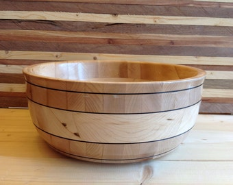 Wood Bowl Handcrafted from Maple and Cherry - 16MCH001