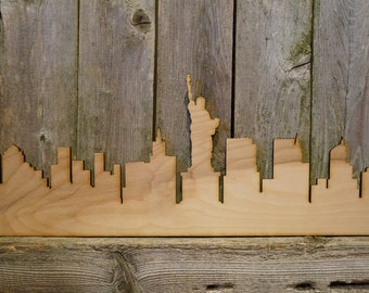 NYC skyline wood cut wall hanging/gift/cutout/laser/door/decor/unfinished/wood/laser