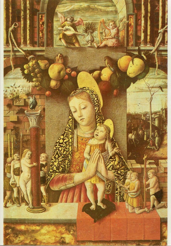 Vintage 1966 print of Madonna and Child, painted by Crivelli in 15th century, beautiful details, matted & mounted for framing, 11 x 14 ins