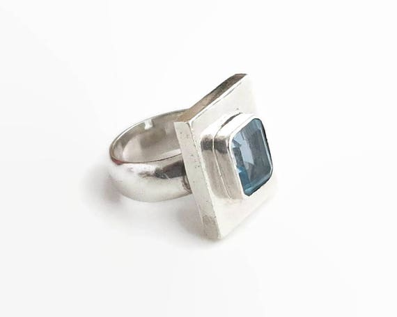 Sterling silver and blue topaz ring, large faceted square topaz with flat top in raised bezel setting, 14 grams, size M.5 / 6.5
