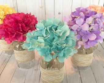 Mason Jar Hydrangea Wedding Centerpieces