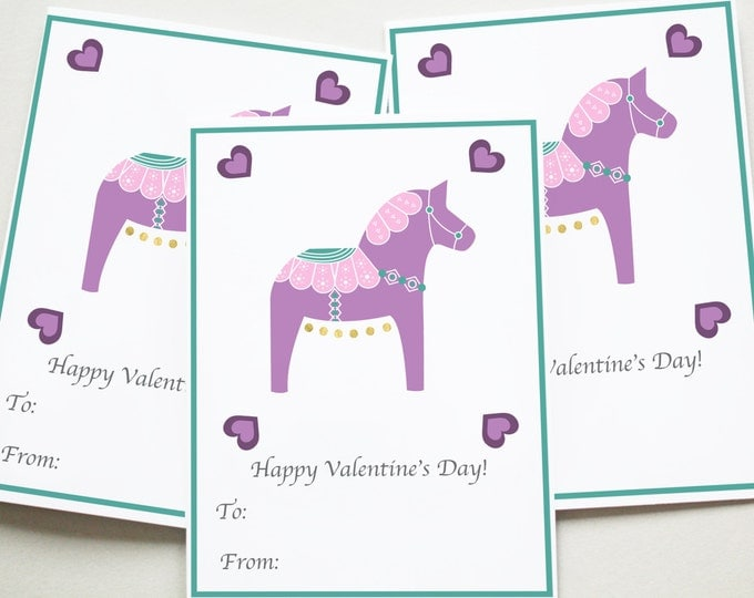 Printable, Valentine Printables, Valentine's Day, Valentine, Purple Dala Horse Valentine