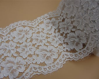 thick lace with silver cord,Stretch Lace Trim - Extra Wide black Lace Trim, 22cm Wide Lace Trim