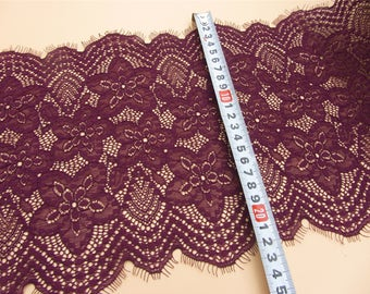 Dark purple stretch Lace trim,  Burgundy  Eyelash Lace Trim with pink cording for sewing, Shawls, Skirt, Lingerie