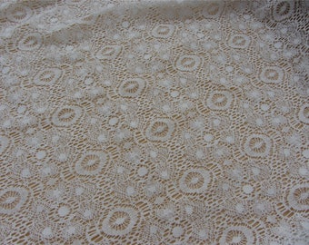 Beige cotton Lace Fabric by yard, Embroidered lace fabric,curtain lace