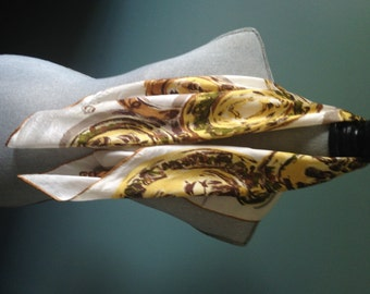 White Scarf with Yellow, Gold and Brown Circles, Medallion Patterning