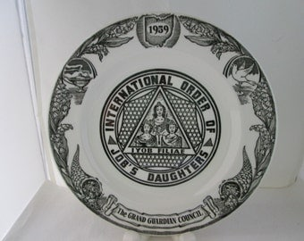 1959 Job's Daughters OHIO The Grand Guardian Council Commemorative Plate Daughters of Job Masonic group womens organization womens club