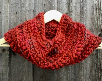 Chunky Hand Crochet Cowl / Snood / Neck Warmer in Inferno  (burnt orange mix)