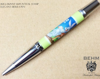 Ballpoint Pen - Handmade with authentic Bugs Bunny postage stamps - FREE Leather Pen Case!!