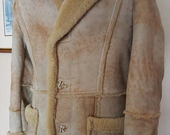 SALE INTO SPRING Vintage Natural Sheepskin Coat with Shearling Lining, Shearling Winter Coat, Sheepskin Winter Jacket by Leather Attic, Exce