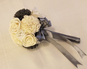 Bridal Bouquet or Bridesmaid bouquet , Wedding Cream/Gray, Sola flowers