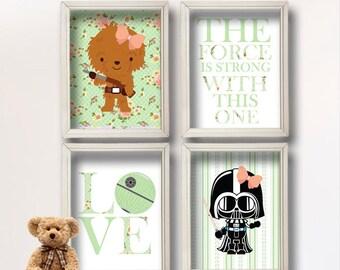 Baby Girl Star Wars Nursery Art- Girl Room Decor Shabby Chic - Star Wars Decor - Baby Shower Gift - Nursery Girl   GR-127 Mint