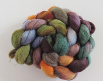 merino silk,Fairy of the Pond, top, handpainted fiber for spinning, .4,2oz