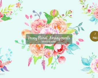 Watercolor Peony Floral Arrangements - watercolor peony bouquet, posies and floral arrangements for instant download, wedding bouquet
