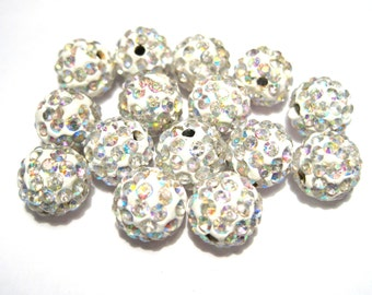 10pcs White AB Polymer Clay Rhinestone Beads Pave Disco Ball Beads - Grade A 10mm