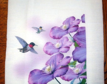 Flour Sack Kitchen Towel Hummingbirds