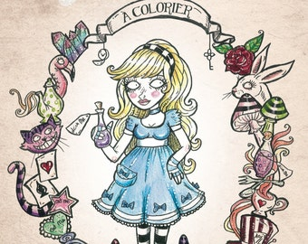"coloring book ""Alice in Wonderland of"" coloring"