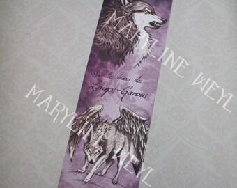Bookmark werewolf winged purple Wolf