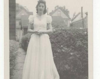 Vintage Black & White Snapshot Photo 1940s Woman In Dress