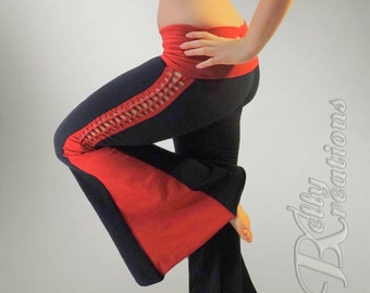 Tribal Belly Dance Pants with Braided Detail on the Side (Christina Pants) CUSTOM MADE