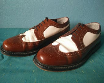 Vintage men's Brentano two tone brogues shoes brown and white lace up leather size Mens 9 D