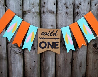 Wild one birthday banner, First birthday decor, Feather party, Boho cake smash photo prop