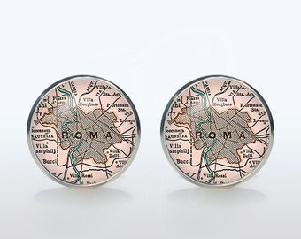 Roma map Cufflinks Silver plated Roma vintage map Cuff links men and women Accessories Antique black pink