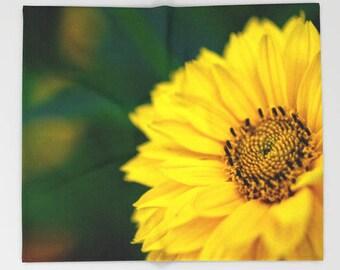 Fleece Blanket, Yellow Blanket, Flower Photography, Baby Girl Nursery Decor, Gifts For Gardeners Gift, Macro Photography Gifts