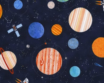 Space quilt etsy for Outer space fabric uk