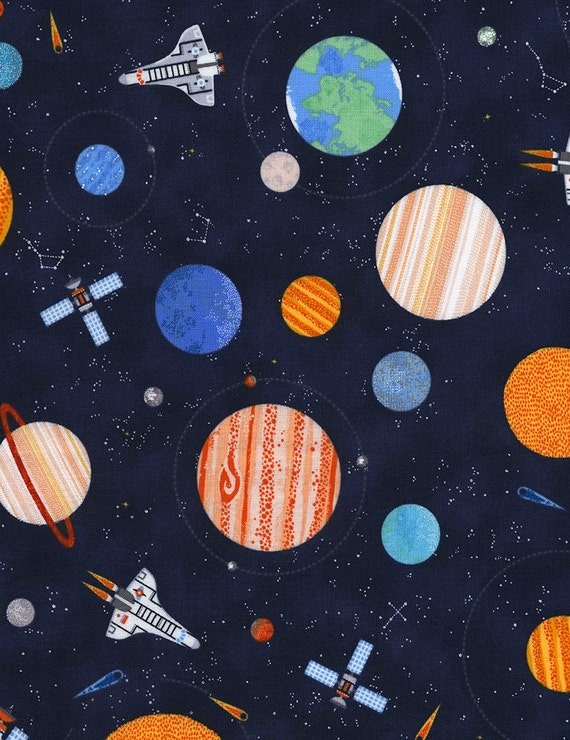 Planets fabric timeless treasures c4561 space fabric for Space fabric by the yard