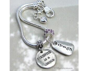 Strength Charm Bracelet Strength Is A Choice Birthstone Crystal European Charm Bracelet Strength Gift For #CBR1040