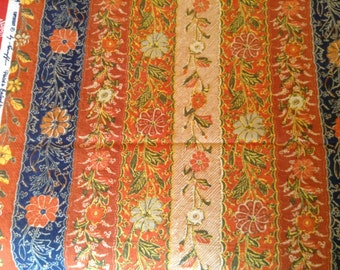 Greeff 1980's Cotton Linen Upholstery Fabric- made by Warner, England, Tarakan, Isles of Java, 3 yards, excellent