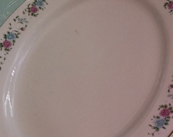 Lovely vintage floral platter/shabby chic/cottage/edged in gold