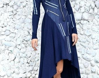 Extravagant Denim Dress / Denim Hooded Dress / Asymmetrical Denim Dress TDK228 / URBAN MUSE