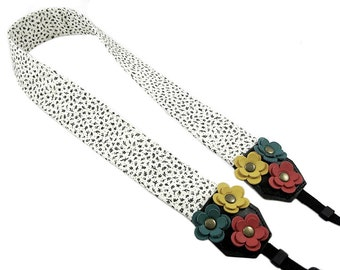 DSLR Camera Strap. Floral Camera Strap. Cute Camera Strap - Black and White Floral Fabric With Leather Flowers