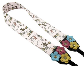 DSLR Camera Strap. Floral Camera Strap. Cute Camera Strap - Light Pink Fabric With Leather Flowers